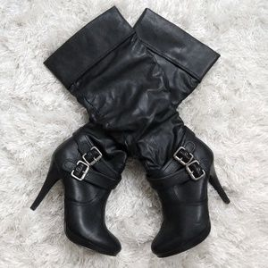 Black Style & Co heeled boots with Buckle 7.5